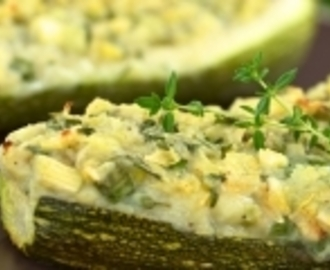 Baby Marrows filled with Herbs & Cheese