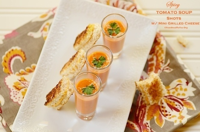 Spicy Tomato Soup Shots with Mini Grilled Cheese Sandwiches
