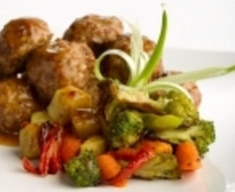 Hearty Roast Veg with Meatballs<br><span style='font-size: 18px;'>One dish wonder!</span>
