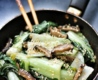 Bok Choy and Shiitake in Sesame Oil