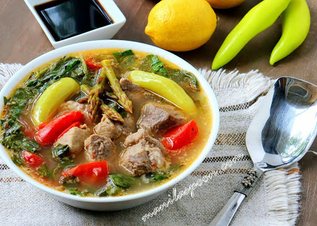 Sinigang na Baboy (Lemony Pork Soup with Asparagus and Spinach)