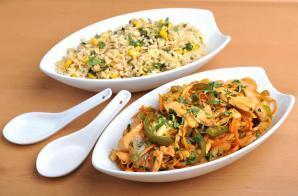 Chicken Stir Fry with Egg Fried Rice