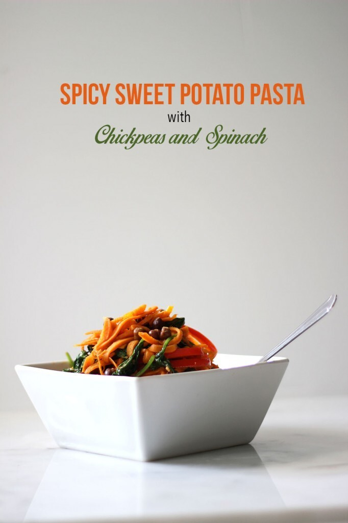 Spicy Sweet Potato Pasta with Chickpeas and Spinach
