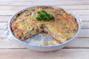 Crustless Bacon and Mushroom Quiche