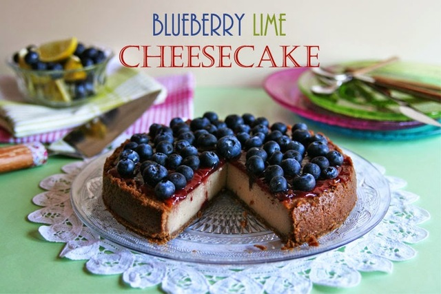 Blueberry Lime Vegan Cheesecake