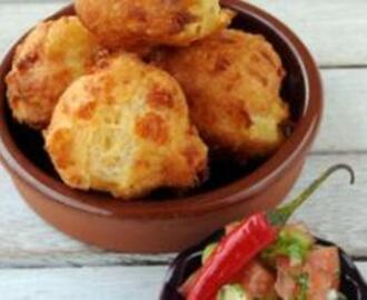 Cheese Puffs with Tomato Salsa