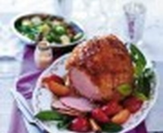 Gammon with cinnamon, ginger and peach glaze
