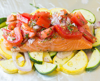 Salmon and Summer Veggies in Foil