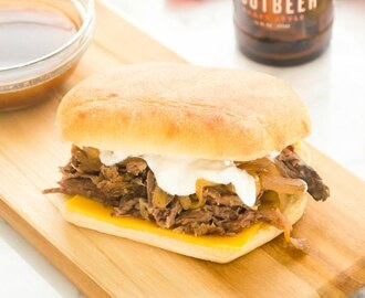 Root Beer Roast Beef French Dip with Greek Yogurt Horseradish Sauce