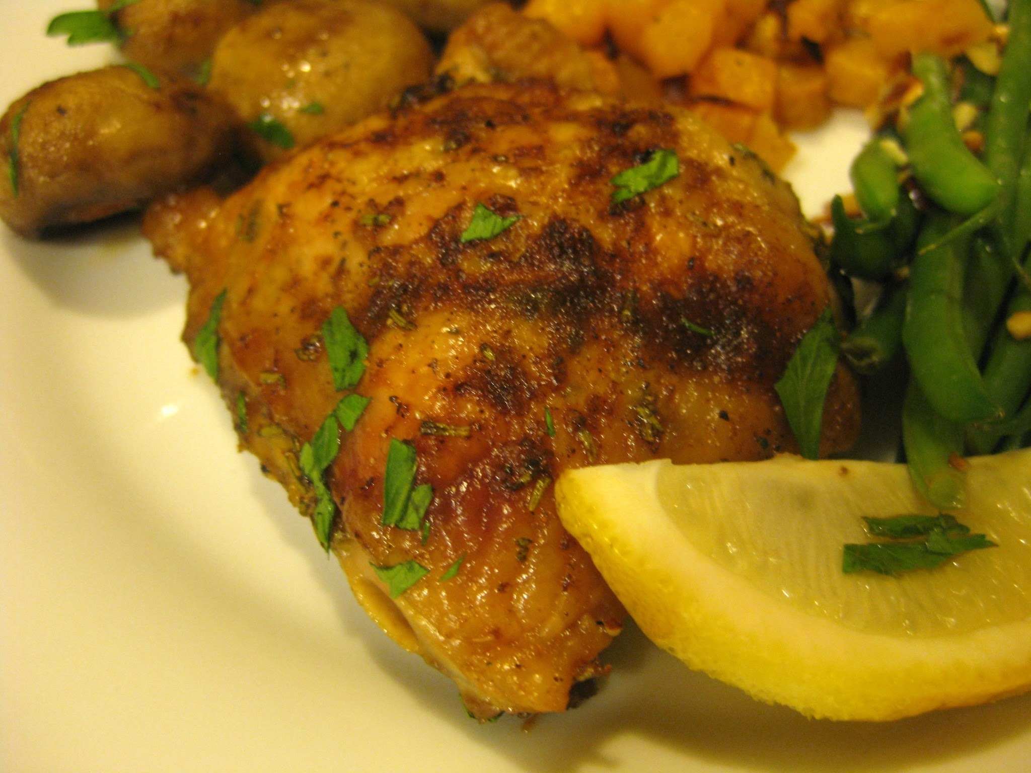 Roasted Chicken and Mushrooms with Rosemary and Lemon
