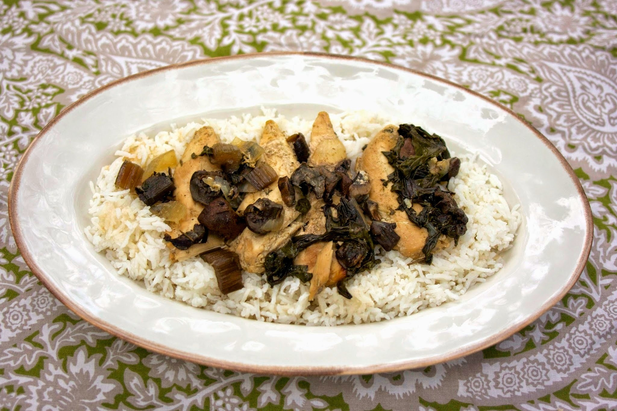 Slow Cooker Chicken with Spinach & Mushrooms   #Foodie Friday