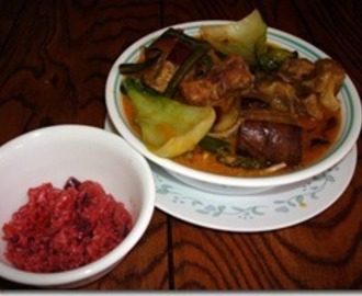 Kare-Kare with Ginisang Bagoong (Ox Tail in Peanut Sauce with Sauteed Shrimp Paste)