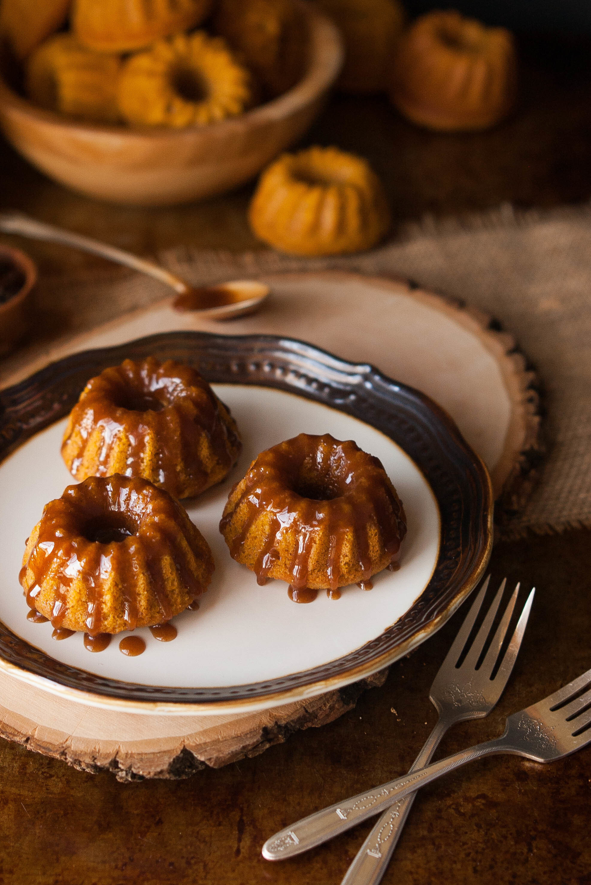 Browned Butter Caramel Pumpkin Spice Mini Bundt Cakes