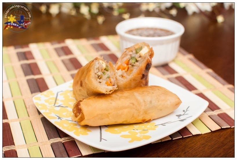 Pritong Lumpiang Togue (Fried Mung Bean Sprouts Egg Rolls) with Vinegar Soy Sauce Dip