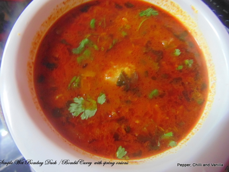 Simple Wet Bombay Duck /Bombil curry with Spring onions