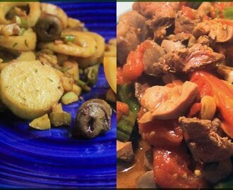 Chicken Hearts and Palm / Chicken Gizzards, Tomato, Mushroom and Okra