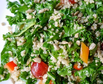 Shredded Kale And Quinoa Salad With Red Grapes, Bell Pepper, And Sunflower Seeds Vegan and Gluten Free