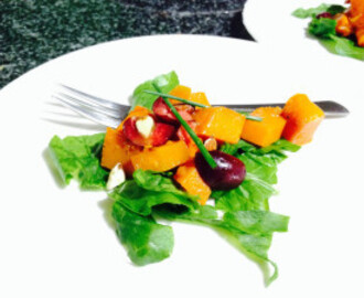 Roasted butternut, feta and baby spinach salad