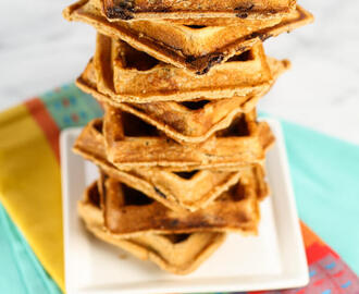 Whole Wheat Peanut Butter Chocolate Chip Waffles