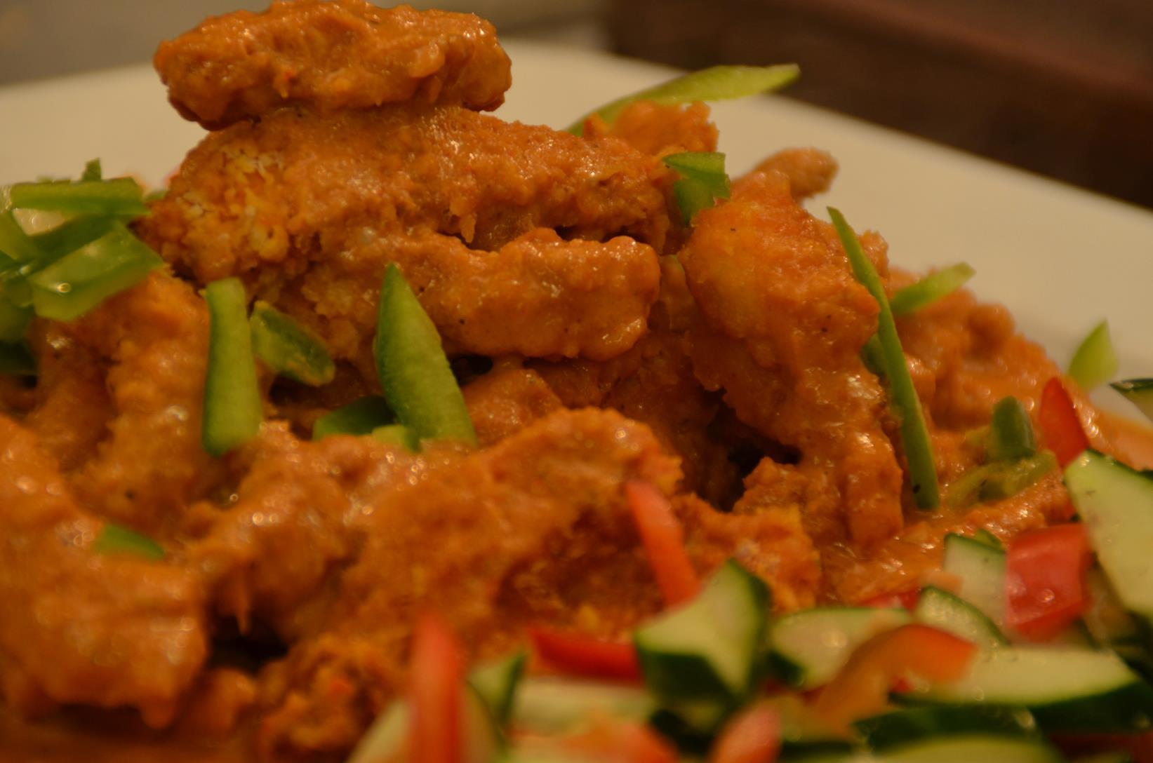 Thai-Style Chicken Fingers with Peanut Sauce and Cucumber Salad Recipe