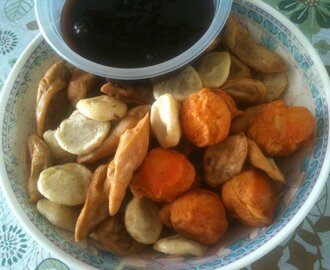 Kwek-kwek, Homemade Kikiam and Fish Balls in Sweet, Vinegar, and Thousand Island dips