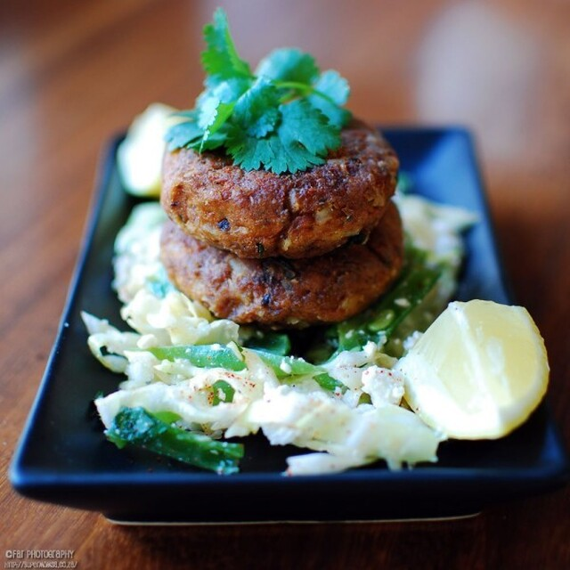 Fishcakes with Cabbage, Green Bean and Feta Salad