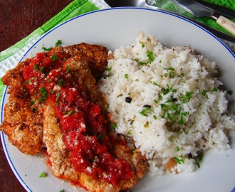 Italian Style Fried Chicken Breast and Steamed Rice