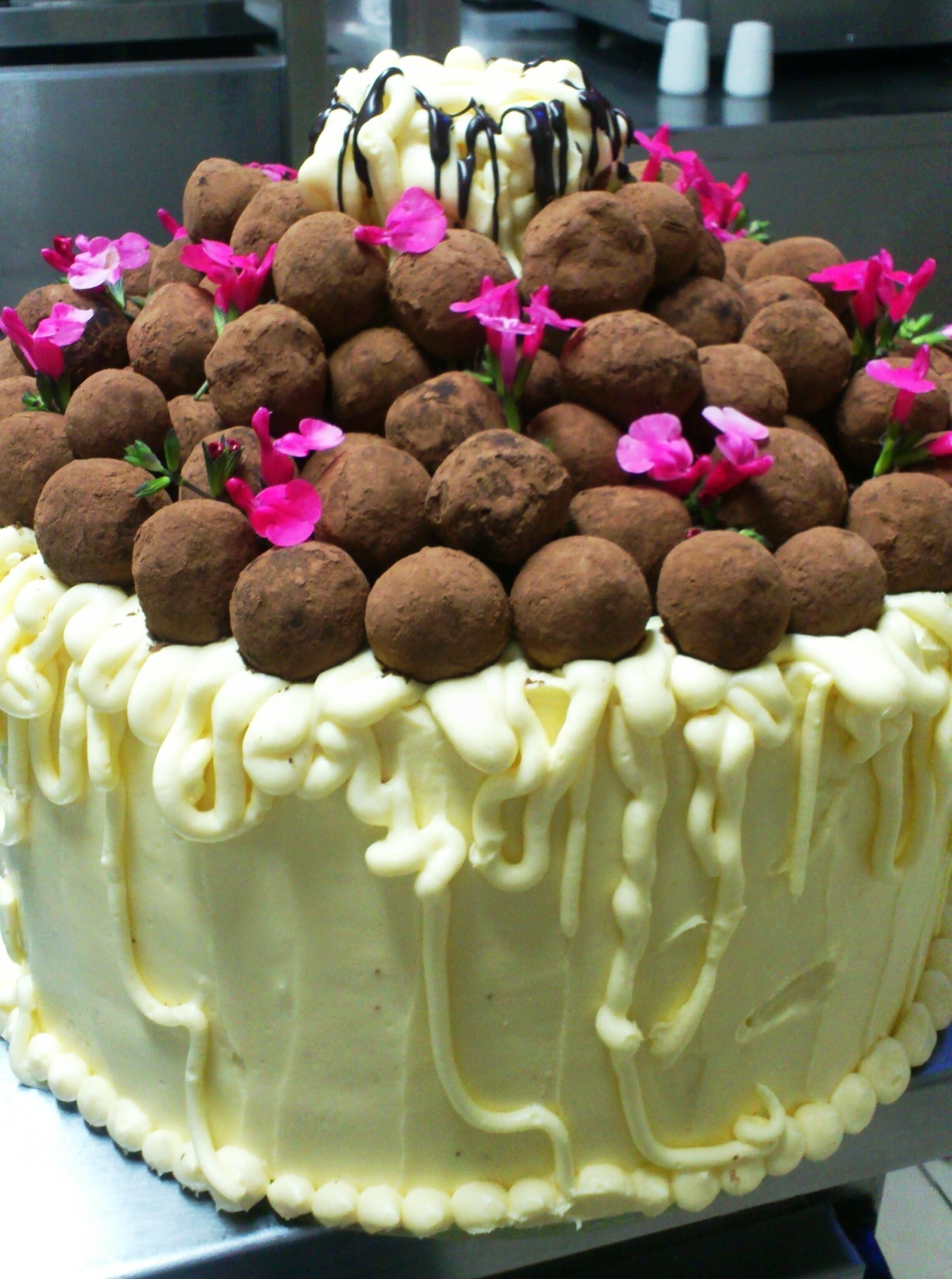 Red Velvet Cake with cream cheese frosting and homemade chocolate truffles