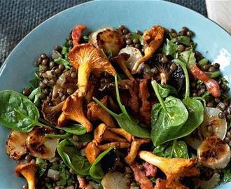 Jerusalem artichoke, wild mushroom, bacon and lentil salad recipe