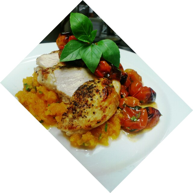 Grilled Chicken Breast with Butternut mash and cocktail tomato sauce