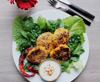Veg Food: Butternut Squash Sesame Fritters with Vegan Chili Mayonnaise