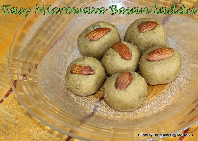 Microwave besan laddo/ 5 minutes besan laddu in microwave/How to make besan ka laddu in micro wave step by step pictures/ Quick and easy Diwali sweets recipes