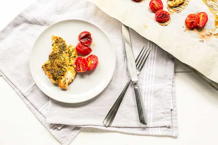 Oven baked chicken breast pesto