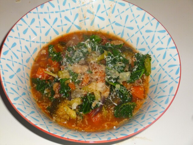 Winter Vegetable and Bean Minestrone Soup Recipe