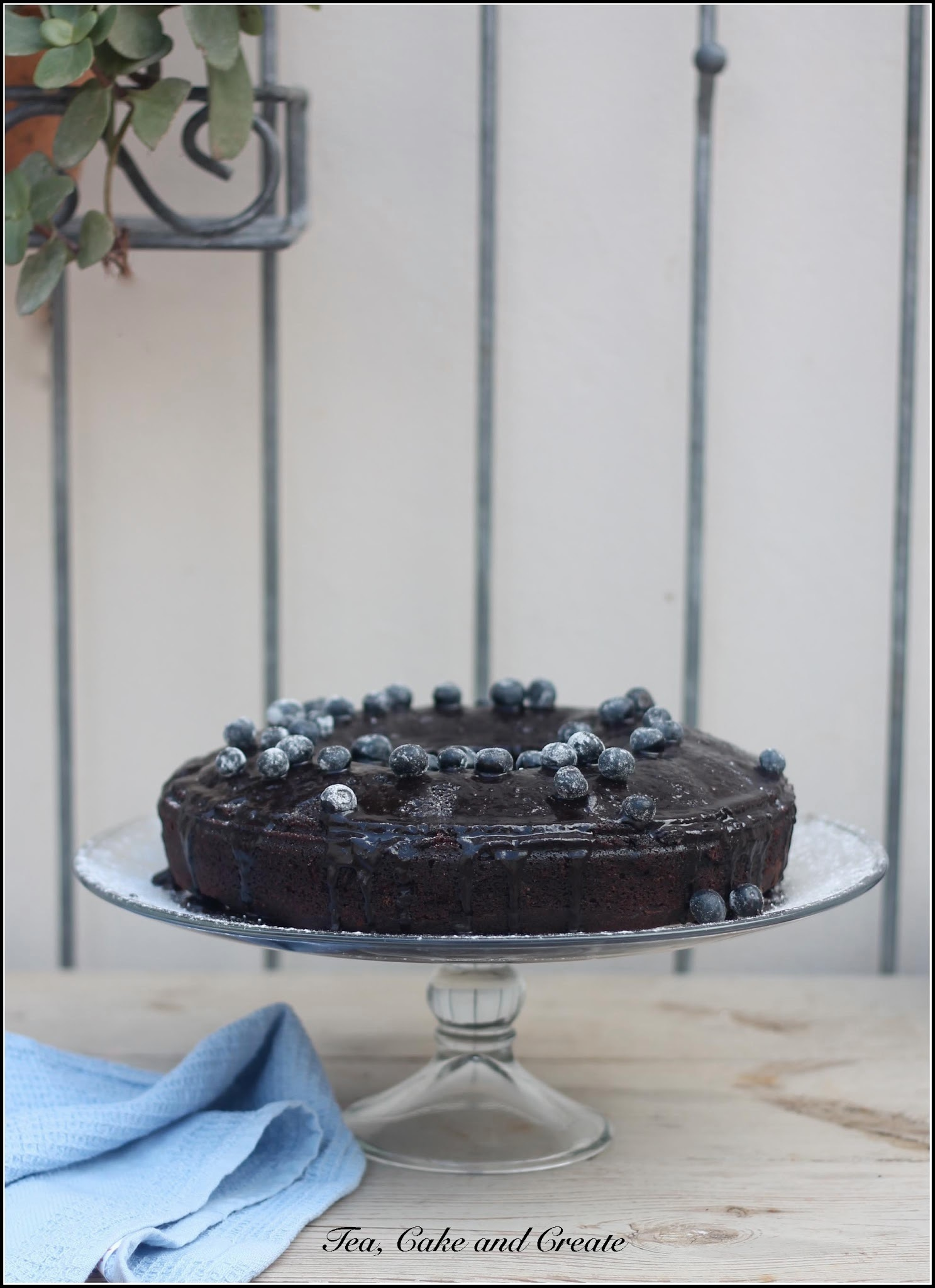 Sour Cream Chocolate and Blueberry cake