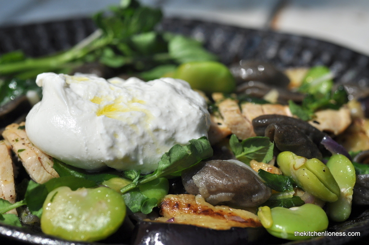 Orecchiette con Grano Arso with Watercress, Aubergine, Broad Beans & Burrata Pugliese