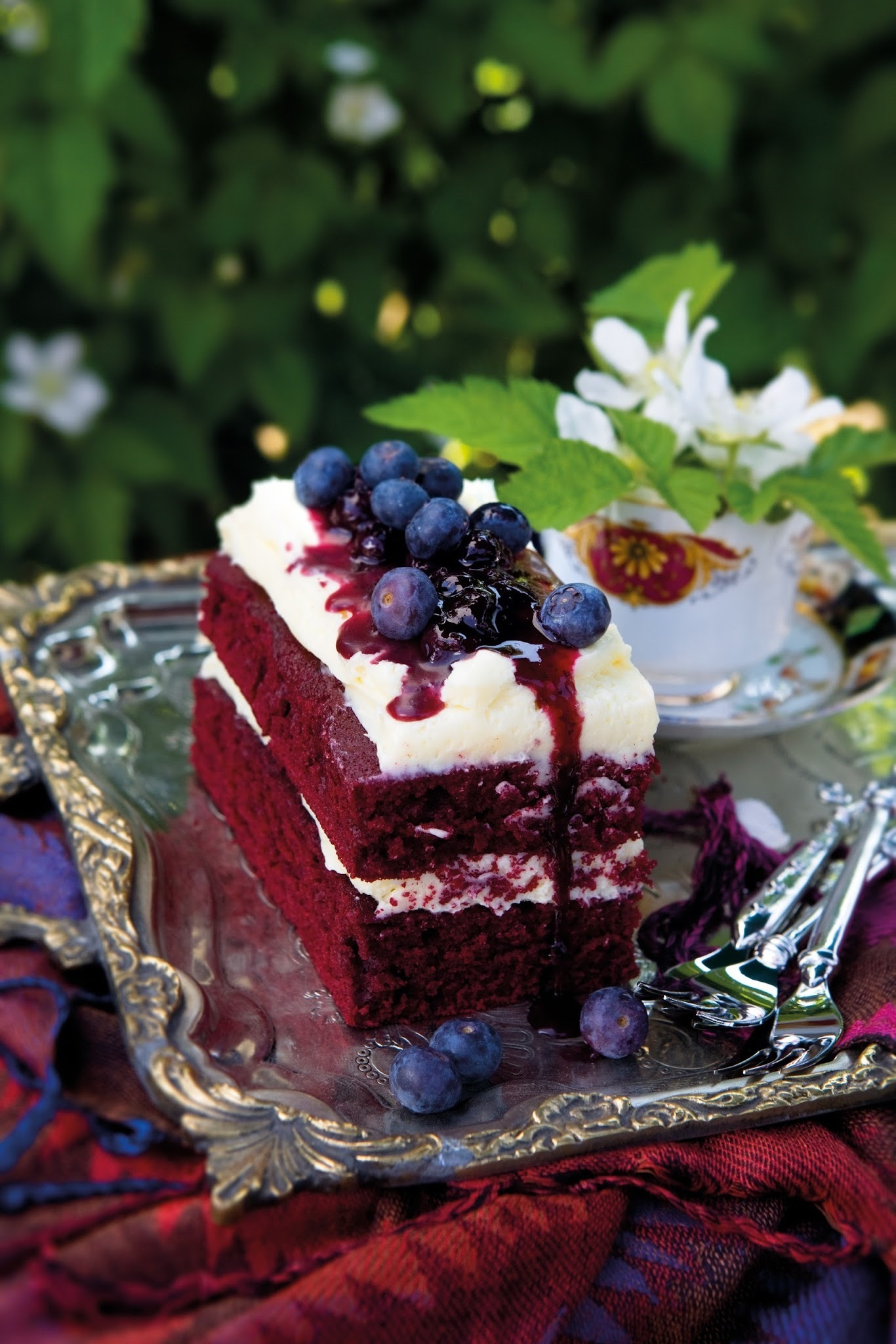 Red velvet loaf cake with blueberries