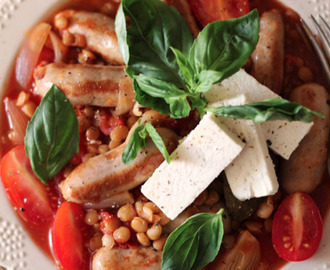 Tomato, sausage and lentil cassoulet with basil