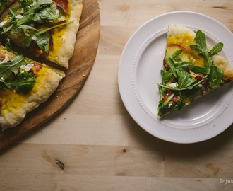 Butternut Squash Sage Pizza with Apples, Bacon, and Arugula