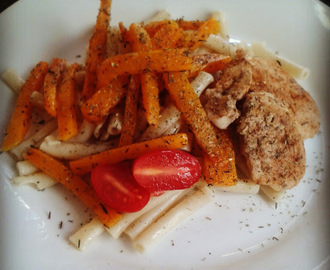 Sunday lunch. Chicken stips with butternut fries and pasta with some home made mayonnaise...