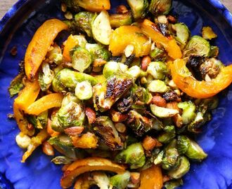 Caramelized Maple Almond Brussels Sprouts and Pumpkin