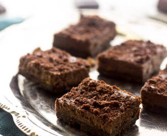 Chocolate Cheesecake Bars with Butterscotch Chips and Brownie Brittle Crust {Lightened Up}