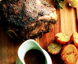Slow roast leg of lamb with garlic, rosemary, paprika rub