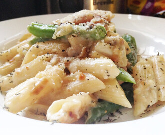Penne regate with green beans, mushrooms and ham recipe