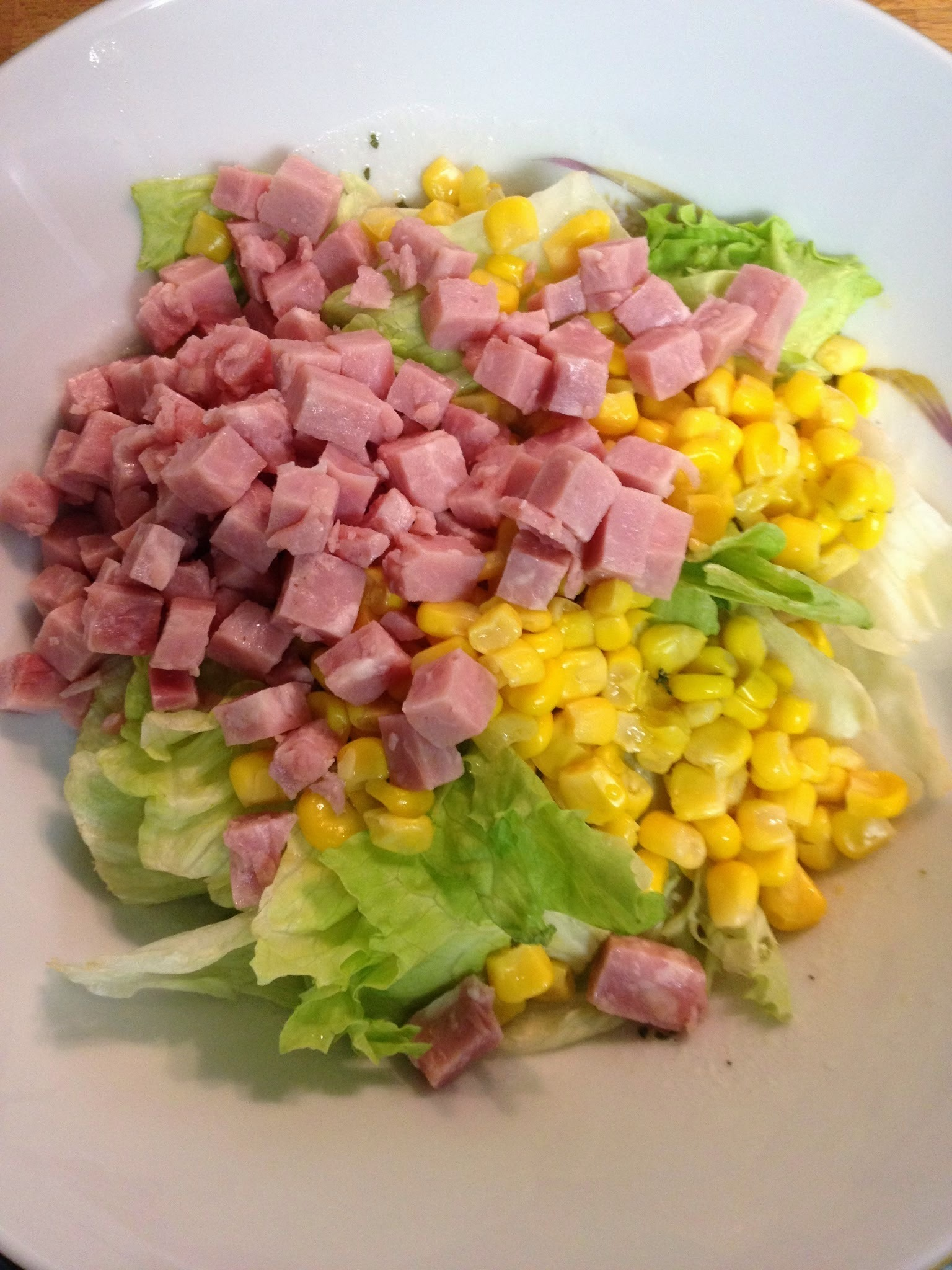 Ham, Corn, and Lettuce Salad