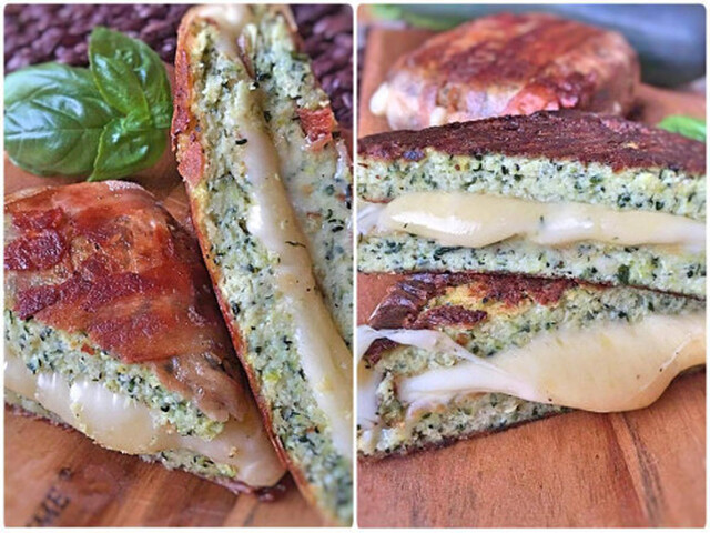 Low Carb Zucchini Sandwich grilled Cheese aus Zucchini Brot