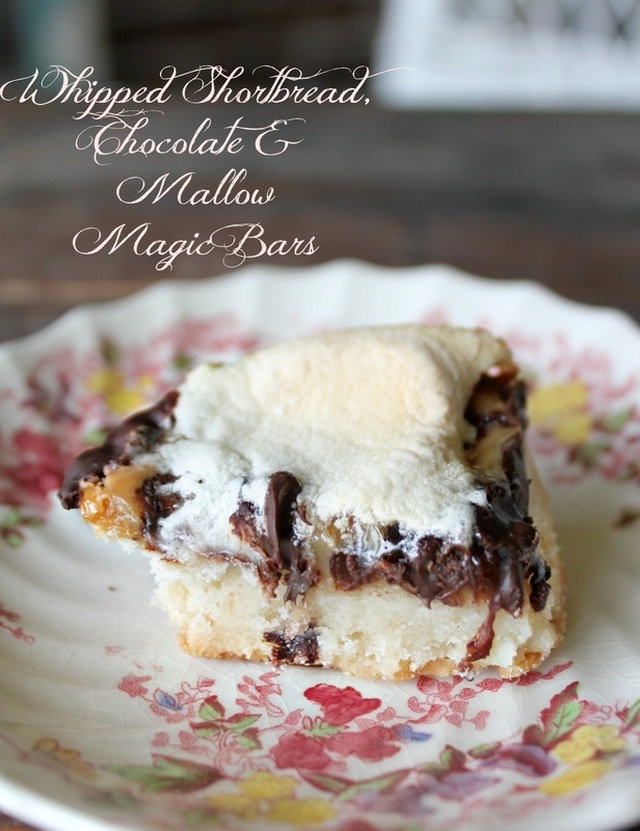 Whipped Shortbread, Chocolate & Mallow Magic Bars