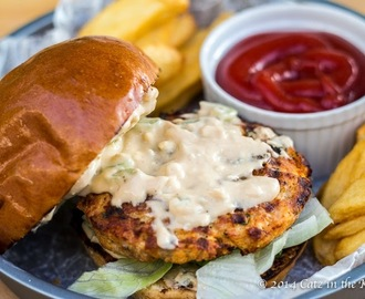 Buffalo Chicken Burgers with Blue Cheese Mayo