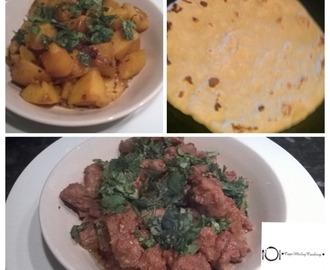 DRY SPICY LAMB CURRY, POTATO CURRY & NAAN