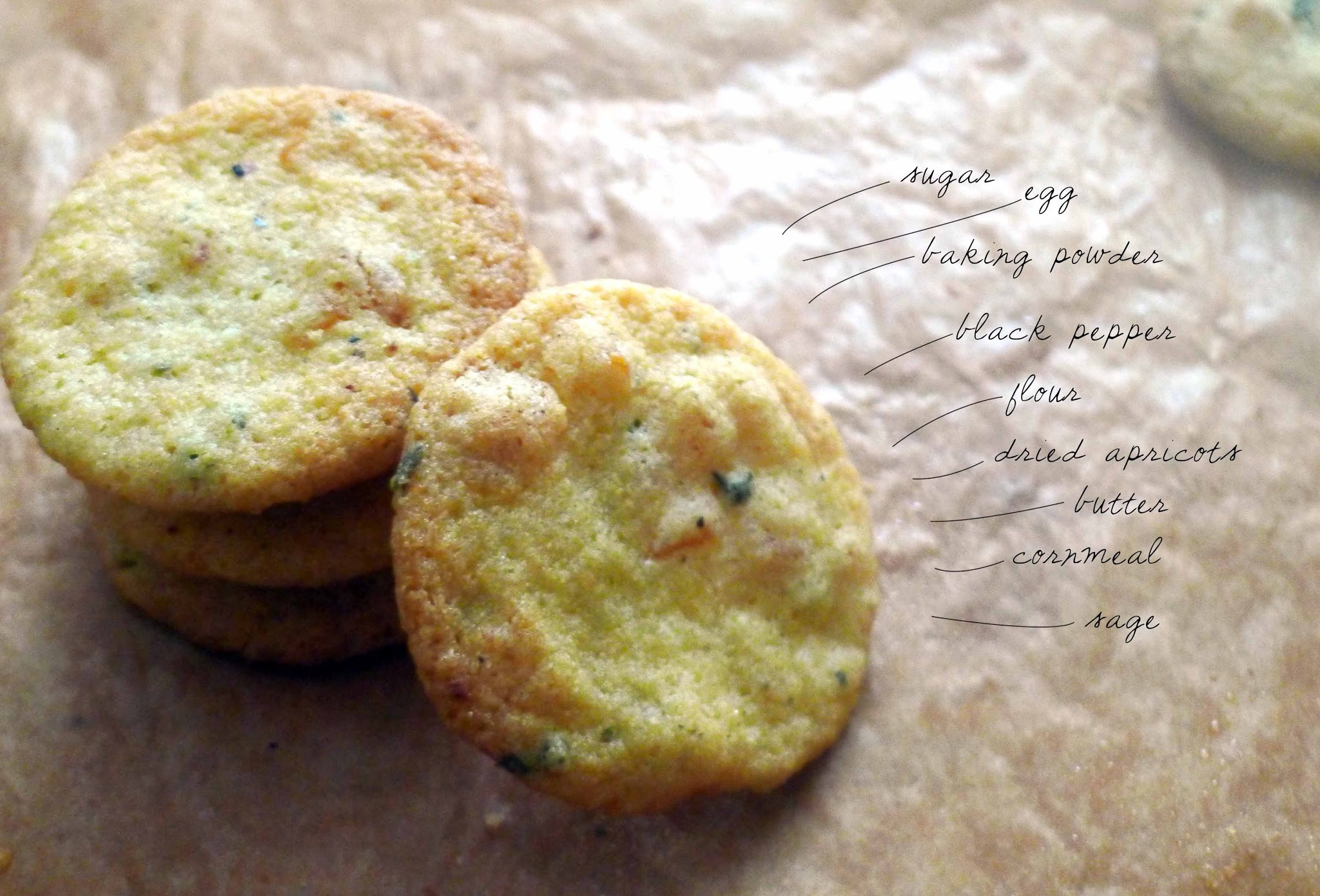 Sage Apricot Black Pepper Cornmeal Cookies